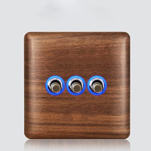 Crayom Interruptor De Madera Maciza Antigua con Luz LED 86 Tipo 1-4 Interruptor De Grupo De 2 Vías Interruptor De Panel De Nogal Interruptor De Paleta De Latón