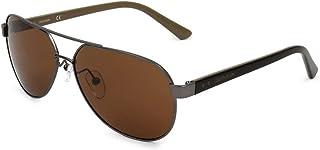 نظارة شمسية بتصميم افياتور للرجال من كالفن كلاين، لون بني، 59 ملم، CK19300S-008-59