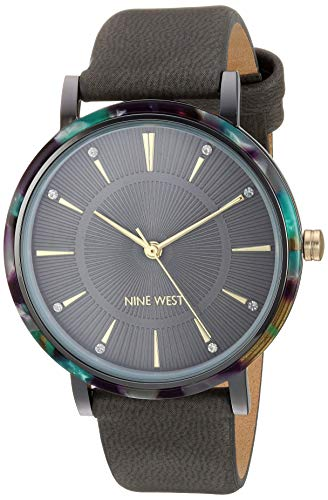 Nine West Women's Crystal Accented Grey Strap Watch, NW/2379GYGY