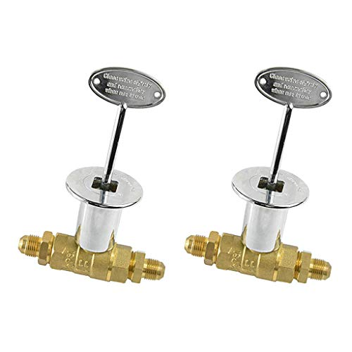 B Baosity 2 Pack/Set 1/2 Inch Standard Keyed Main Shut Off Ball Valve for LP or NG Fire Pits