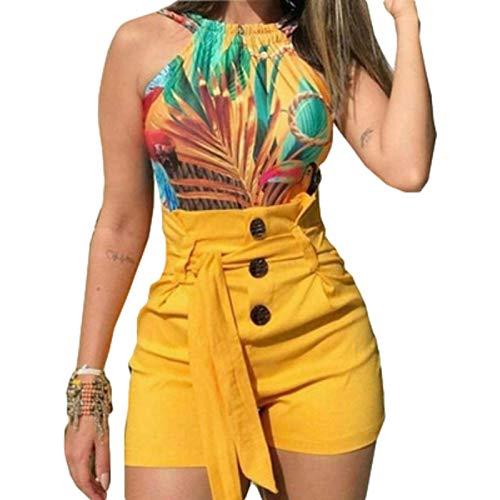 Pantalones Cortos de Mujer Summer Trend Street Pantalones Cortos Sexy Diseño Americano Pantalones Cortos de Encaje con Botones de Cintura Alta L