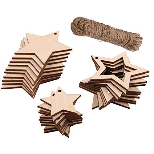 Creative Deco Bois Étoiles Décorations pour Sapin de Noël | 30 x Formes de Contreplaqué | 13m Ficelle de Jute | 3 Modèles d'Étoile: 10 x Plein 8x8cm, 10 x 8x8cm + 10 x 5x5cm Ajouré | 3mm d'Épaisseur