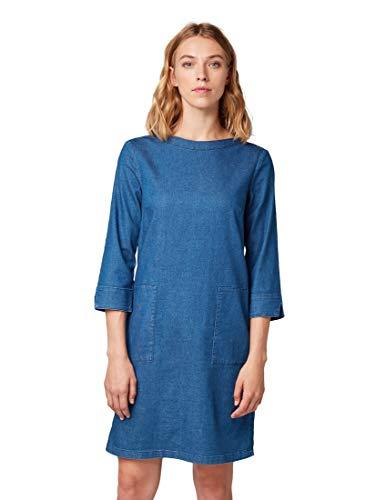 TOM TAILOR Damen Kleider & Jumpsuits Jeanskleid mit Taschen Dark Stone wash Denim,40