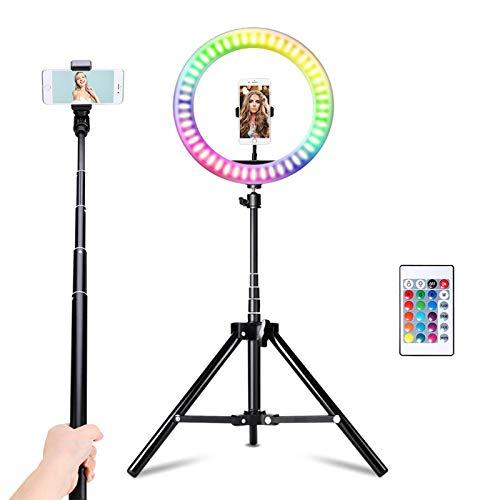 Vingtank Aro de Luz con Trípode, Anillo de luz RGB de 10.2 Pulgadas con Soportes para Teléfonos Móviles, 16 Colores, 10 Brillos Regulable para Móvil, Selfie, Vlog, TikTok, Youtube, Live