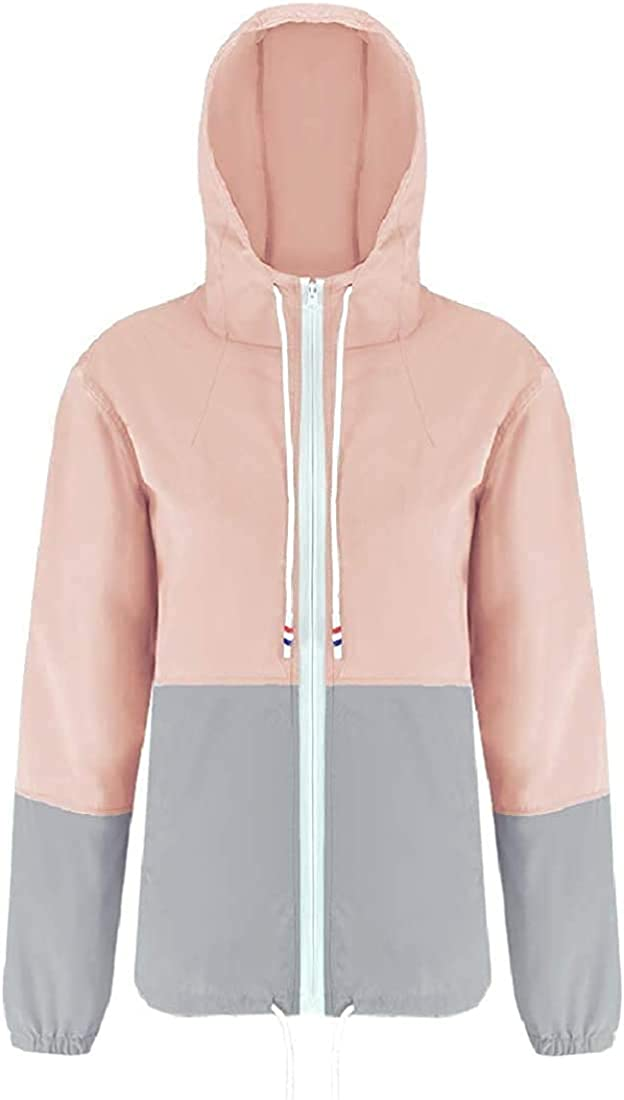 Women's Waterproof Two-Tone Quick-Drying Fashion Hooded Coat Jacket