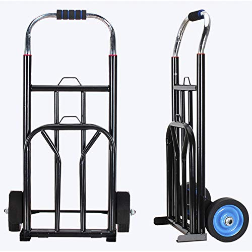 YAODFYL Stainless Steel Folding Folding Shopping Trolley With Anti Puncture Silent Wheel and 100 kg Capacity,BlackLarge Shopping Trolleyfor Supermarket Shopping