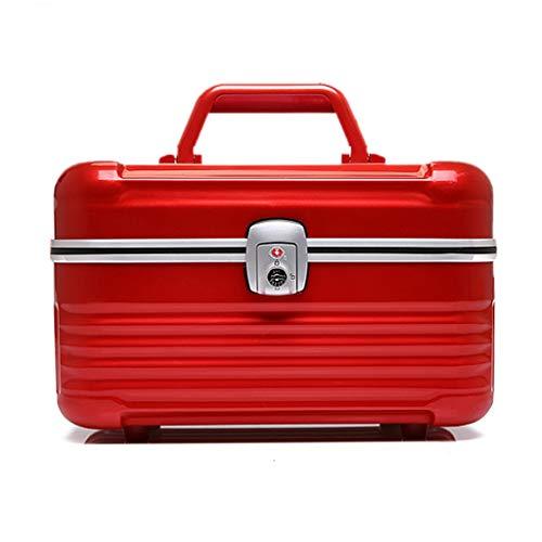 Borsa per cosmetici in alluminio, portatile, grande capacità, borsa per cosmetici, valigia portatile, scatola per gioielli 33 * 21 * 20CM rosso