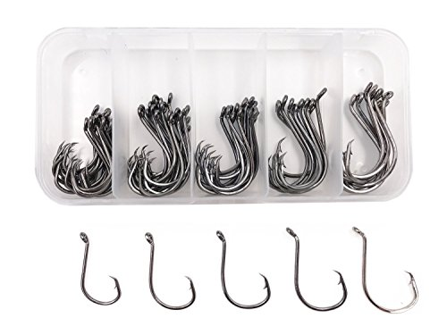 Milepet Octopus Kreis-Haken, Offset-Angelhaken, Schwarz, aus Kohlenstoffstahl, Oktopus, Größen 1#,1/0#,2/0#,3/0#,4/0#,75 Stück/Box