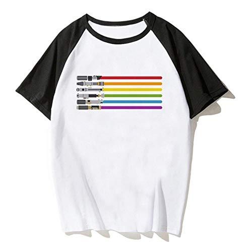 Miwaimao Été Marée Modèles Gay Amoureux Manches Courtes Raglan Respect Sujet Transgenre Confortable Respirant Élastique Col Rond Lâche - - XXXL