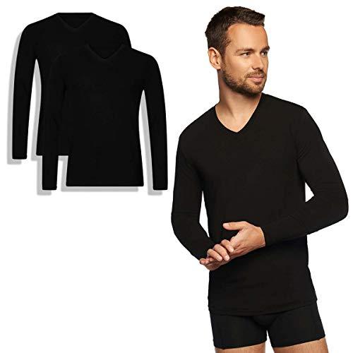 Bamboo Basics - Heren Extra Lang T-shirt met lange mouwen (2-pack) - Zwart - Wit - Vick - V-hals - Thermo - Perfect Fit, Zijdezacht en Hypoallergeen