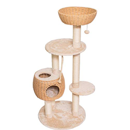 Dpliu 55.5 Inch Multi-Level Cat Tree House Furniture with Paper Rope Condo Perch Sisal-Covered Scratching Posts