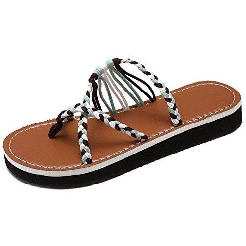 Minetom Sandalen Damen Sommer Schuhe Mode Strand Kreuzgurte Geflochtenes Seil Römersandalen Flip Flops Hausschuhe Zehentrenner Z Cyan EU 38