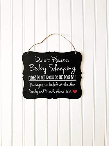 Ced454sy Rustige baby slapen niet kloppen of ring deur bel pakketten kunnen worden achtergelaten aan de deur Voordeur outdoor houten bord voor opknoping