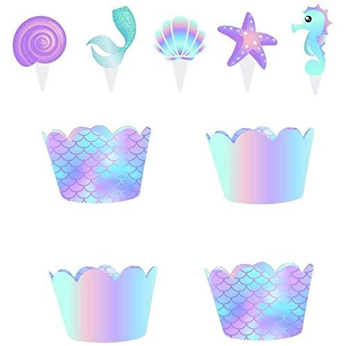 LIMEOW Mermaid Theme Party Decoration Sirena Cupcake Toppers Adornos de Cupcake de...