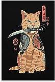 APAZSH Posters para Pared Lienzo de Gato Samurai, Arte de Pared, póster de Guerrero, impresión, Pintura Japonesa, Decoracion Vintage, Arte Decorativo para el hogar, estirado 40x60cm x1 Sin Marco