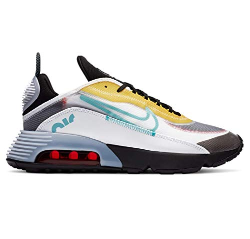 Nike Air MAX 2090, Zapatillas para Correr para Hombre, White Bleached Aqua Black Speed Yellow Chile Red, 44 EU
