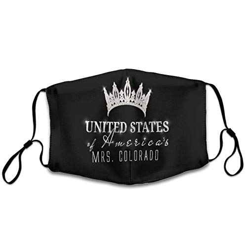 NiYoung Adults Boys Girls Dustproof Windproof Face Mask for Festival, Breathability Mouth Scarf with Adjustable Earloop (United States Crown of MRS. Colorado Black Mouth Shields)