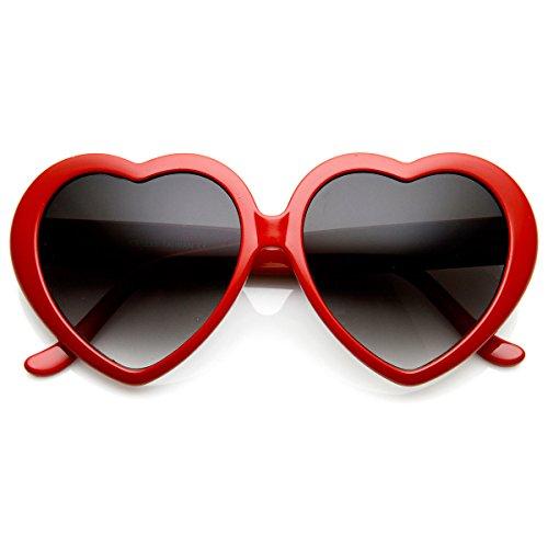 Large Oversized Womens Heart Shaped Sunglasses Cute Love Fashion Eyewear (Red)