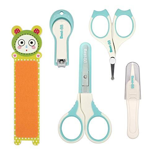H HOMEWINS 5-teiliges Baby Nagelpflege Set mit 2 Baby Nagelschere, Nagelknipser, Nagelfeile, Pinzette, Sicherheit Pflegeset für Babys Kinder (Grün)