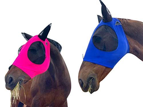 TGW RIDING Horse Fly Mask, Fly Mask with Ears, Extra Comfort Lycra Grip Soft Mesh Horse Fly Mask with Ears (L, Dark Pink)