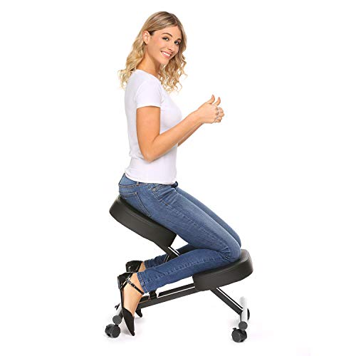 Plohee Ergonomic Kneeling Chair Adjustable Knee Stool for Healthy Back & Upright Posture - Great for Home/Office/Meditation with Thick Comfortable Cushions (Black)