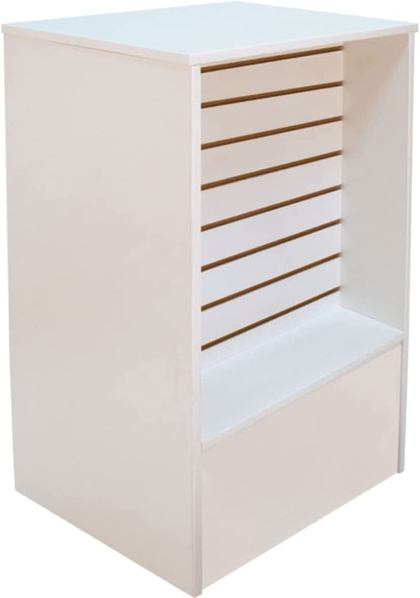 Seasonal Wrap Introduction White Slatwall Front Register Stand 24 W 38 H Inches x Industry No. 1 18 D