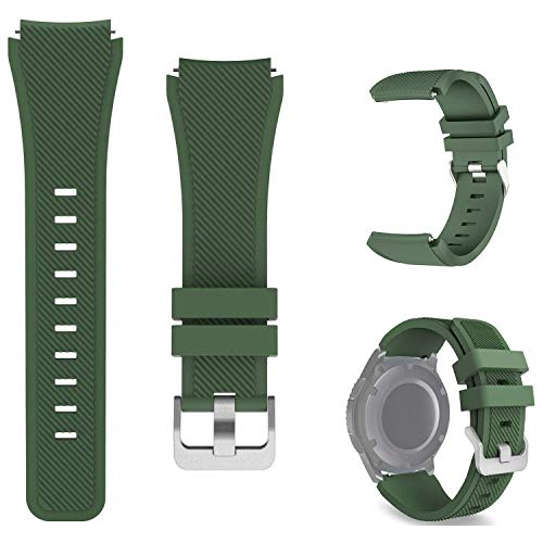 kitway Compatible with Samsung Galaxy Watch 3 45mm band / Gear S3 Frontier bands / Gear S3 Classic bands / Galaxy Watch 46mm bands, 22mm Soft Silicone Replacement Strap Wristbands(Green)