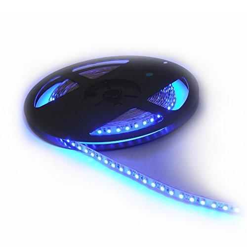 CMC LED Light Lamp LED Strip Lights SMD 3528 16.4 Ft (5M) 300leds 60leds/m Blue Flexible Rope Lighting Tape Lights in DC Jack for Boats, Bathroom, Mirror, Ceiling 1-Pack