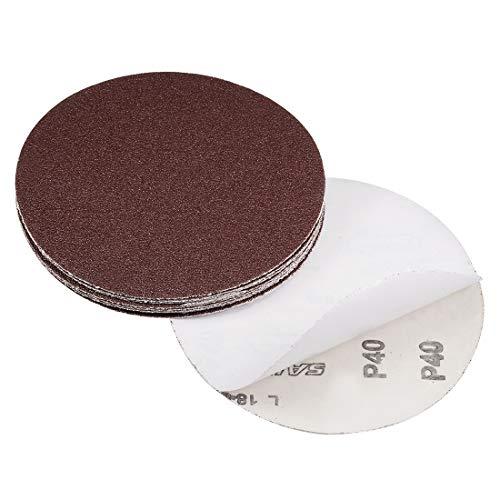 uxcell 6' PSA Sanding Discs 40 Grit Self Stick Aluminum Oxide Sandpaper for Random Orbital Sander Wood Metal Dry Polishing 10pcs