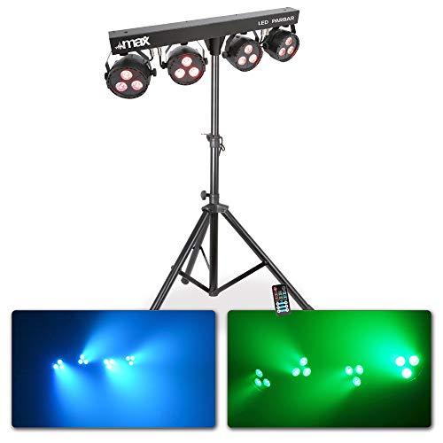 max LED PAR-Bar-Set Lichtset LED-Spots (4-Wege-Kit 3x 4-in-1-LEDs, RGBW, 8-Kanal-DMX-Steuerung, inkl. T-Balken, Stativ, höhenverstellbar, Fernbedienung) schwarz