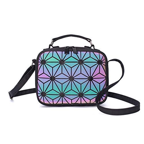 Geometrische Geldbörsen und Handtaschen Umhängetasche für Damenmode, Holographische Top-Griff Umhängetasche Kupplung Luminous irisierende Scherbe Gitter Umhängetasche Hologramm