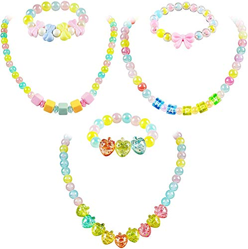 Tacobear 6pcs Kids Jewellery Set Necklaces and Bracelets for Girls Colorful Bow Strawberry Beads Bracelet Necklace Princess Pretend Play Jewellery Toys Party Bag Fillers Gifts for Little Girls