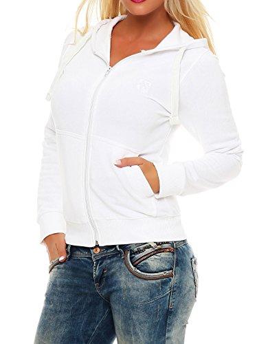 Gennadi Hoppe Sweatshirt Jacke Damen Trainingsjacke (3XL, Weiß)