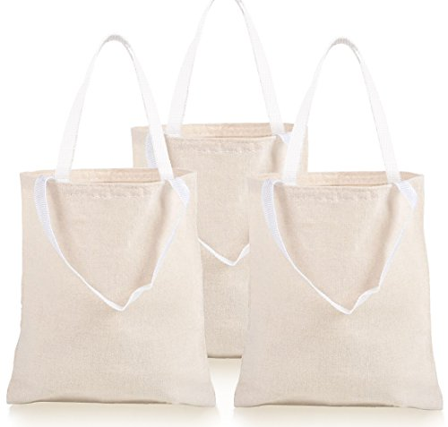 "12 Natural Color Tote Bags Tote bag is 12.75"" high x 10.65"" wide without the handle, handle itself is 7.75"" high Natural Color Cotton Canvas Tote Bags with Nylon Web Handles with 5 inch drop Personalize with craft paints or fabrics for a reusable gif..."