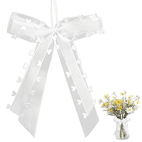 20 Stück Autoschleifen Antennenschleifen Weiß,Schleifen Hochzeit,Hochzeit Deko Schleifen,hochzeits schleifen auto,Autoschleifen Weiß mit Herzen,Verwendet für Hochzeits,Autoschmuck,Zuckerbeutel (20pcs)