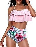 Yuson Girl Damen Bikini Set Hohe Taille Bademode Zweiteilige Strandkleidung Lotusblatt Badeanzug mit Volant Neckholder Ruffle Bikini Oberteil und Bikinihose