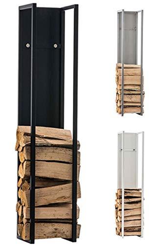 CLP Kaminholzregal Spark I Brennholzregal aus Edelstahl I Holzbutler in verschiedenen Größen und Farben erhältlich Schwarz matt, 25 x 25 x 120 cm