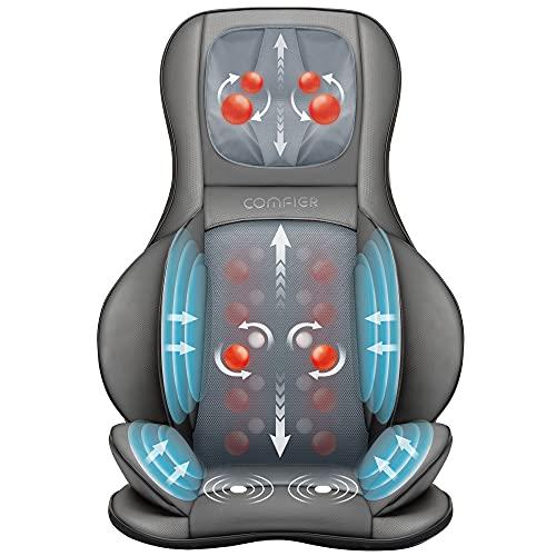 Comfier Rücken- und Nackenmassagegerät mit Wärme - Shiatsu-Stuhl-Massagegerät mit Kompression und Rollen, elektrisches Rückenmassagegerät für vollen Rücken, Nacken, Massagestuhl für Zuhause oder Büro