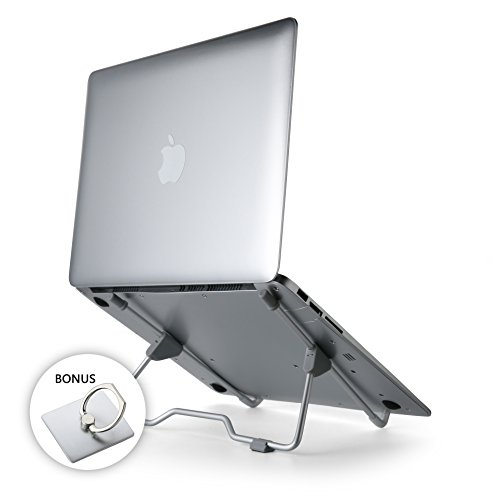 SlimStand Portable Laptop Stand, Collapsible, Ultralight (3.2oz), Aluminum Alloy   Dynamic Adjustability of Height, Width & Angle   Compatible 7-15 Laptops and Tablets, Bundle With Phone Ring