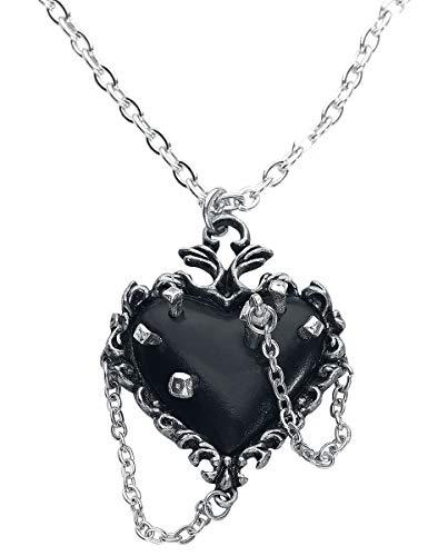 Alchemy Gothic Witches Heart Frauen Halskette silberfarben Hartzinn Everyday Goth, Gothic