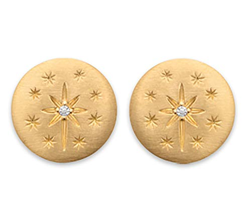 18K Gold Plated Stud Earrings - Star Constellation with Cubic Zirconia - Free Velvet Bag