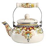 HEMOTON Tetera de Cerámica con Patrón de Flor Vintage Tetera Grande de Porcelana para Servir Té Suelto 2. 5L