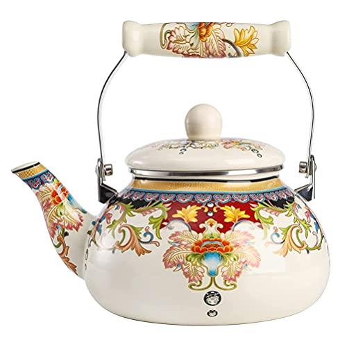 DOITOOL Tea Kettle Floral Tea Kettle Vintage on Steel Whistling Teakettle for Stovetop Large Porcelain Enameled Teakettle 2. 5L