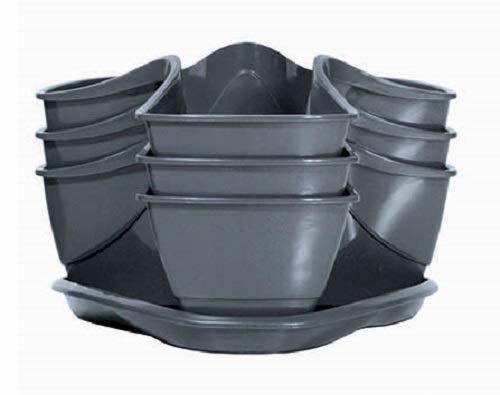 Prosperplast Blumentopf-Set Coubi (3-tlg. Set, Kräuterampel, mit Wasserspeicher, 29,5x29,5x88 cm, 9 l, grau) DKN300W-426U