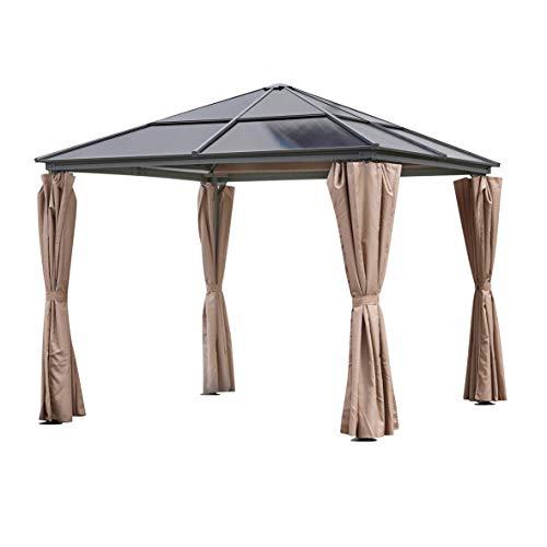 Ribelli Pavillon Hardtop 'Parla', inkl. Seitenteile, Partyzelt mit dunklem, lichtdurchlässigen Dach aus Polycarbonat-Platten, besonders robust, wasserdicht, schwarz anthrazit, Maße: ca. 300x300cm
