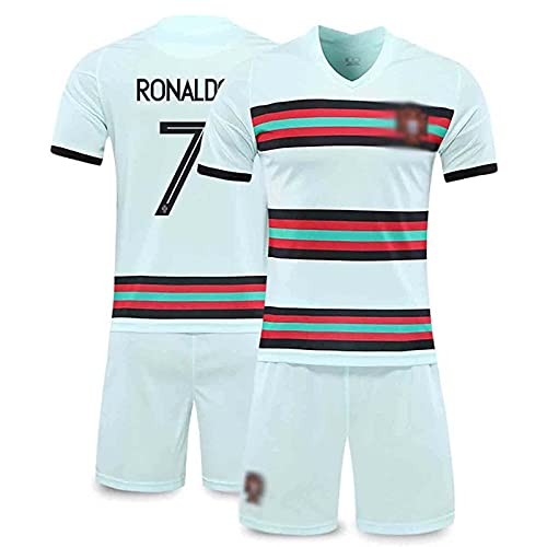 Camiseta De Fútbol para Hombre 2021, Camiseta De Fútbol De Local Y Visitante De Rónaldó Portugal, Camiseta De Aficionado, Camiseta De Traje para Adultos Y Niños + Pantalones Cortos,Azul,XS/X~Small