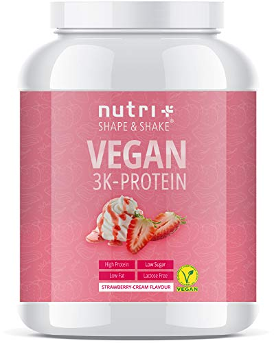 PROTEIN PULVER VEGAN Erdbeer Sahne 1kg - 83,7{1bd0e1fe877886ab022e710cf27ba93a4609209e2dc531c896f0681412dacc47} Eiweiß - Nutri-Plus Shape & Shake pflanzliches Eiweißpulver - Veganer Proteinshake Strawberry Cream - Plant-based Protein Powder