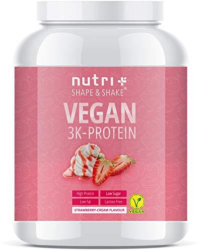 PROTEIN PULVER VEGAN Erdbeer Sahne 1kg - 83,7% Eiweiß - Nutri-Plus Shape & Shake pflanzliches Eiweißpulver - Veganer Proteinshake Strawberry Cream - Plant-based Protein Powder