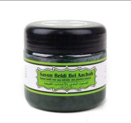 Beldi Bel Aachab schwarze Seife, 200 g, Mischung aus pflanzlichen Ölen und Olivenöl, belebt die Haut, ideal für Hamam.