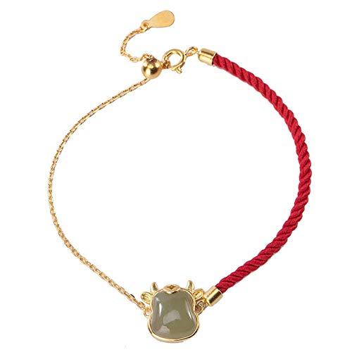 JIUXIAO Friendship Bracelets,Feng Shui Wealth Bracelet for Women Hetian Green Jade Bull Sterling Silver Red Rope Bracelet Carved Lucky Adjustable Zodiac Bracelet Talisman for Prosperity Money Good